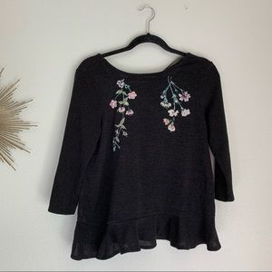 Lauren Conrad Black Embroidered Floral Sweater S